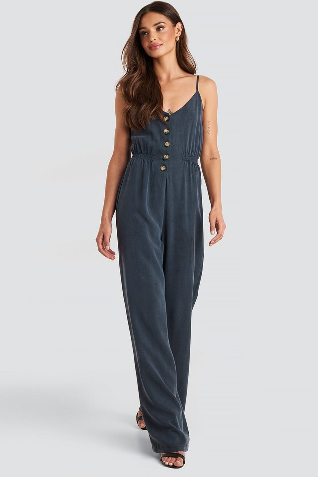 Thin Strap Botton Detailed Jumpsuit Navy