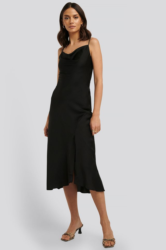 Thin Strap Midi Dress Black