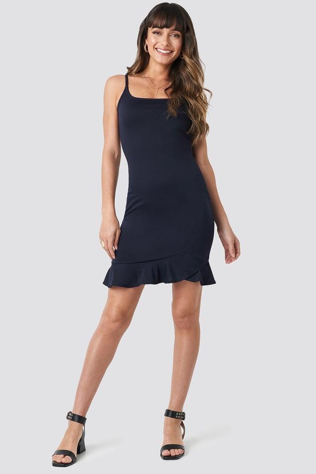 Thin Strap Mini Dress Navy