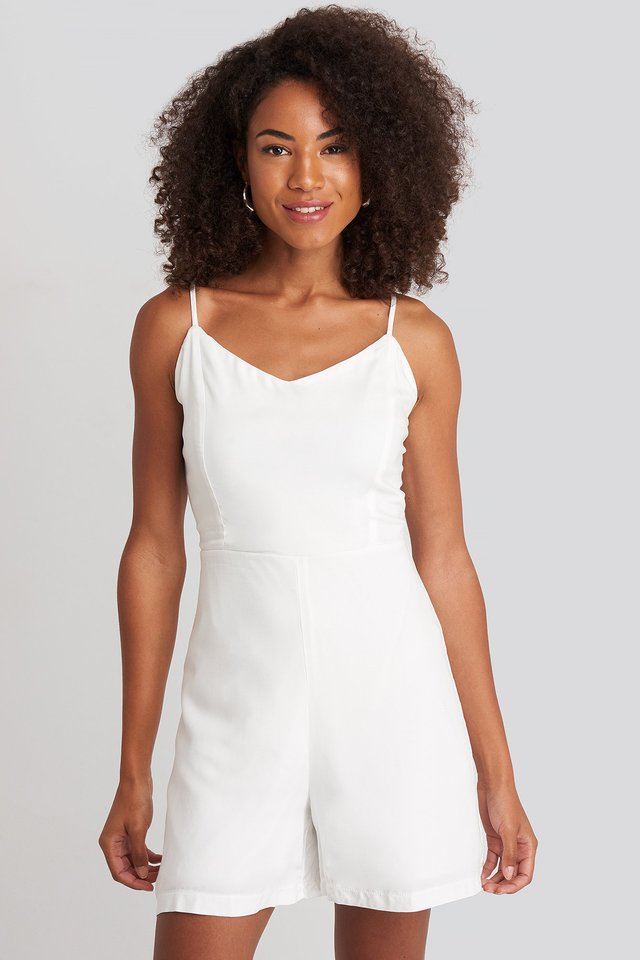 Thin Strap Playsuit White