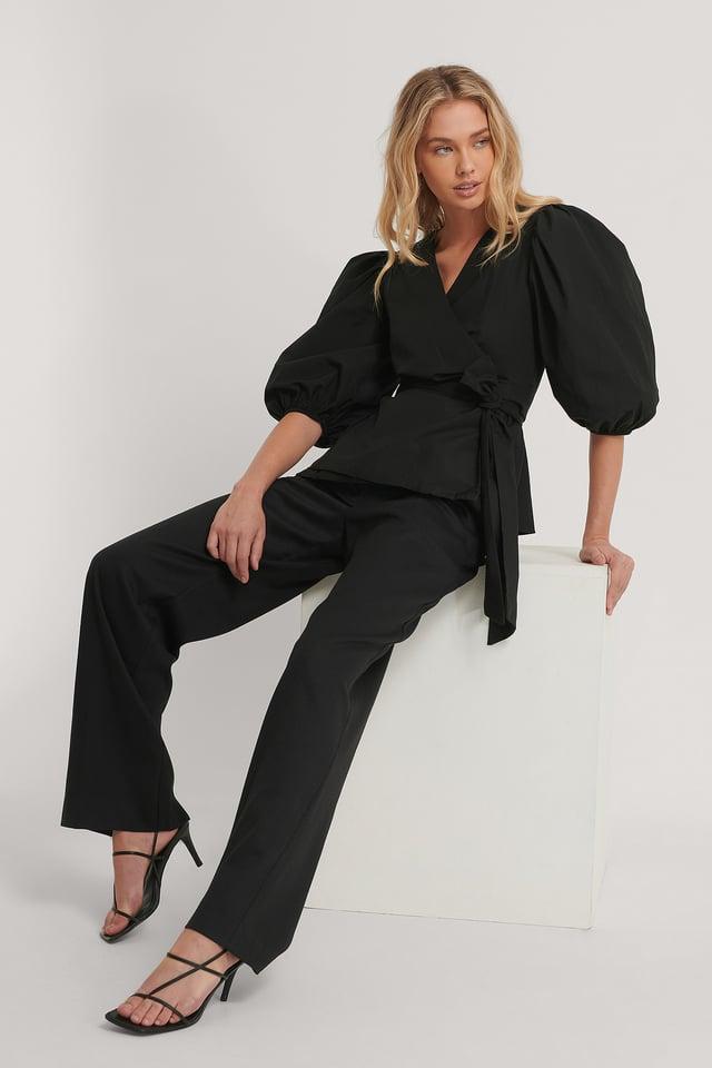 Bluse Med Detaljer Black