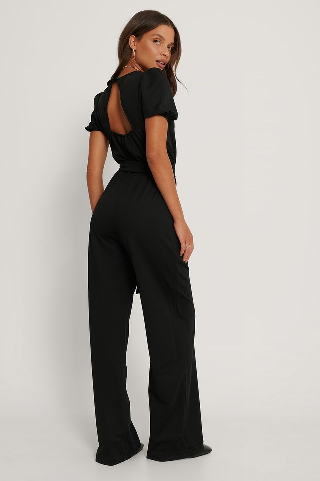Tie Detailed Jumpsuit Black