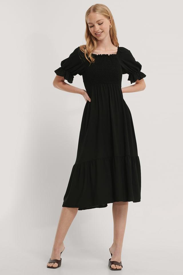 Vestido Midi De Nido De Abeja Black