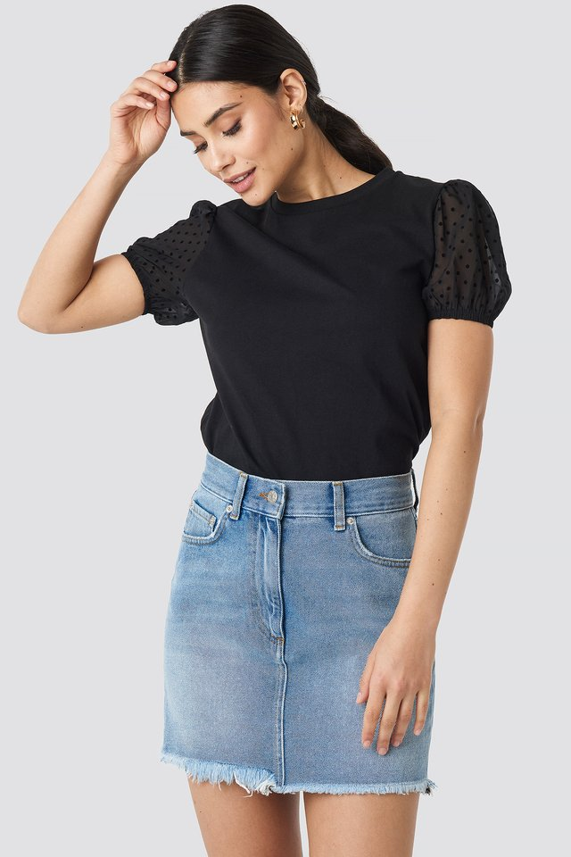 Tulle Detailed Knitted Blouse Black