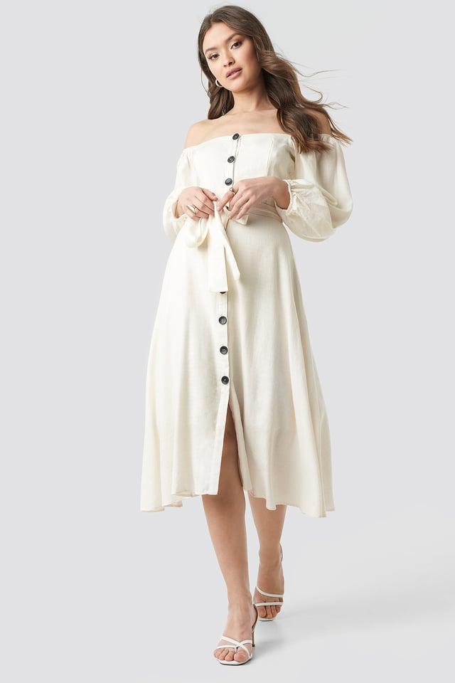 Tulum Off Shoulder Midi Dress Ecru