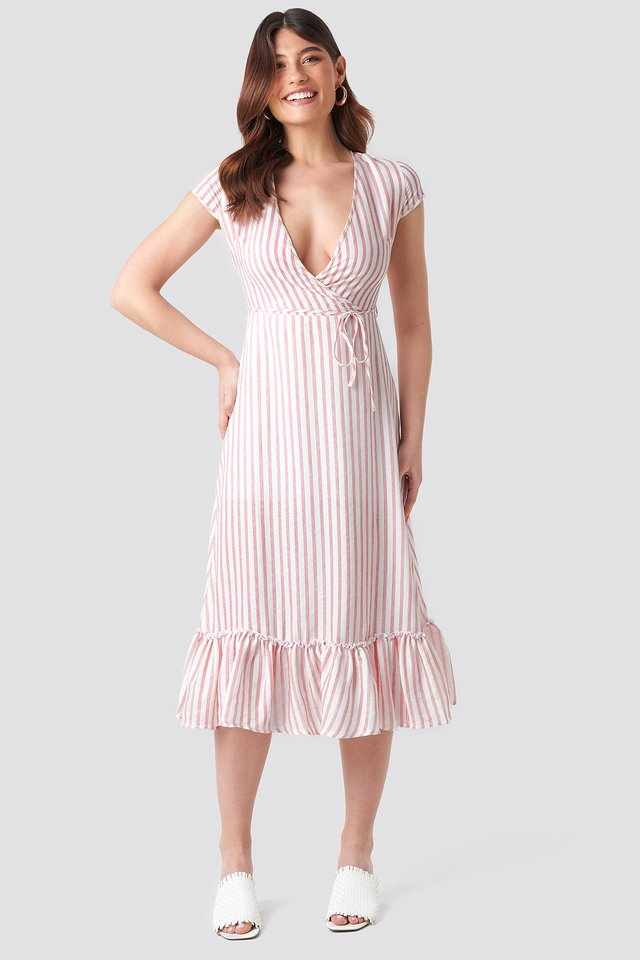 Tulum Striped Dress Ecru