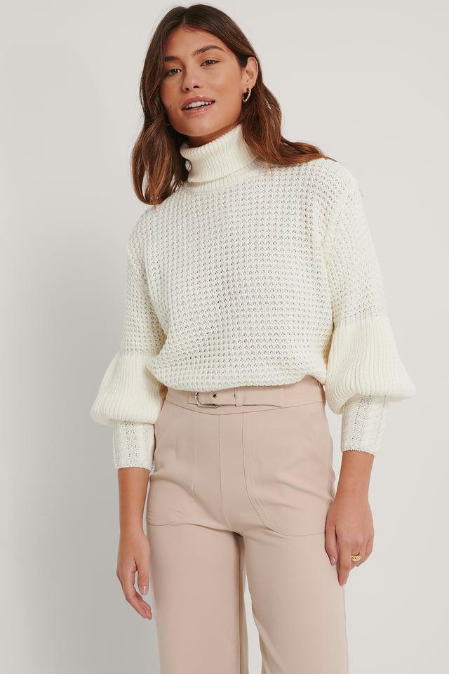 Turtleneck Balloon Sleeve Sweater Ecru