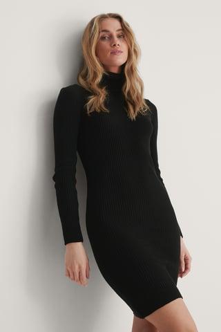 Black Turtleneck Knit Mini Dress