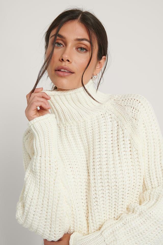 Turtleneck Knit Sweater Ecru