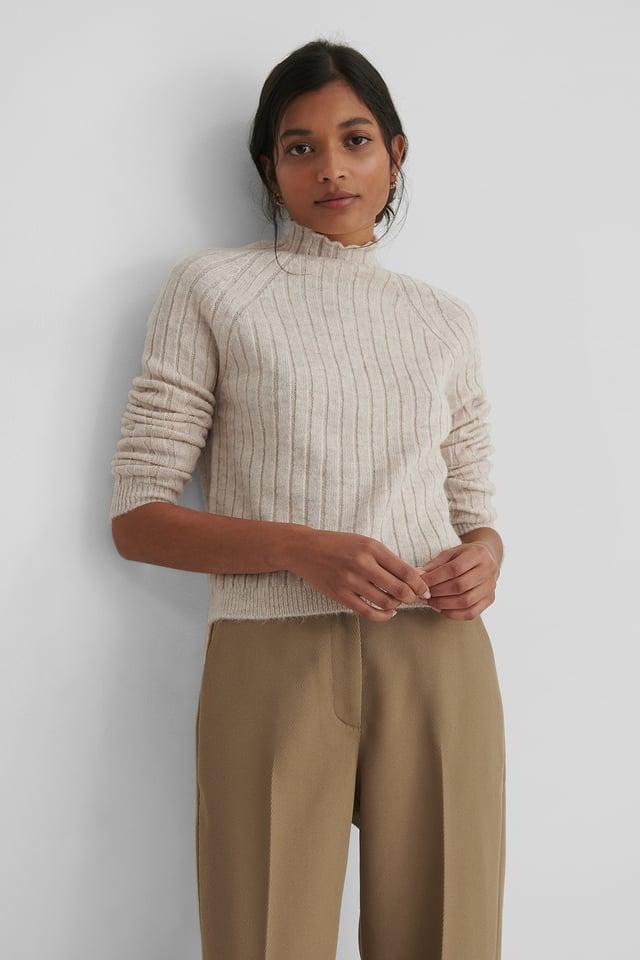 Turtleneck Knit Sweater Stone