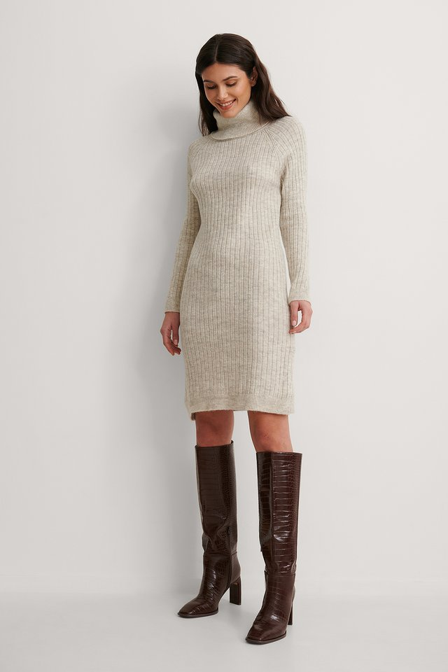 Beige Turtleneck Knitted Dress