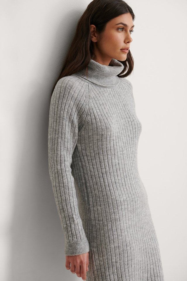 Gray Turtleneck Knitted Dress
