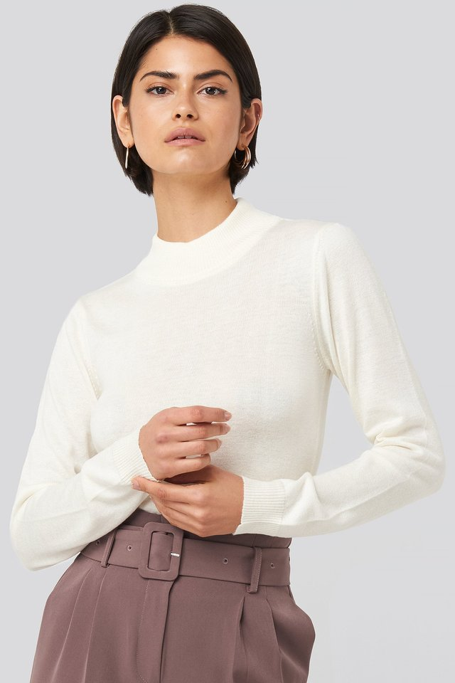 Turtleneck Knitted Top Ecru