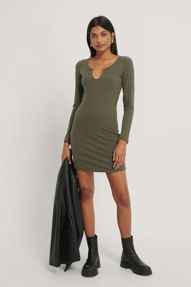 Khaki Twill Knit Mini Dress