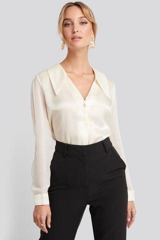 Ecru V-Neck Collar Detailed Shirt