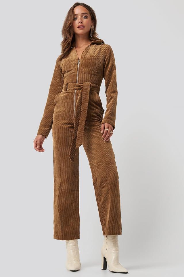 Velvet Jumpsuit Camel