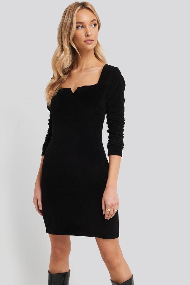 Velvet Knitted Dress Black