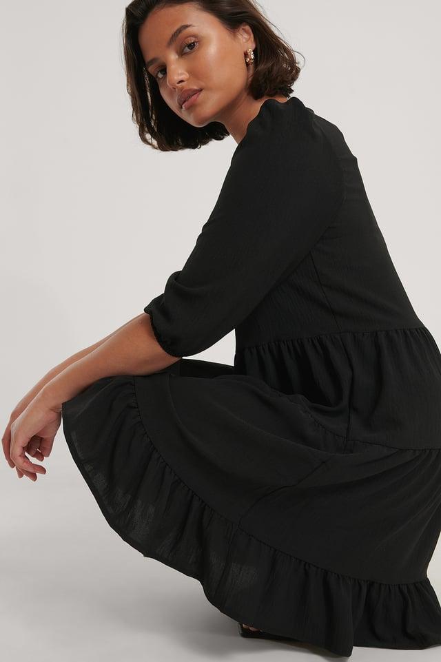 Black V-Neck Mini Dress