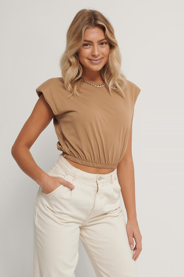 Wadded Shoulder Crop Top Camel