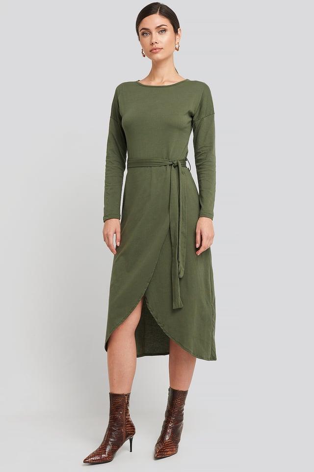 Waist Binding Detailed Midi Dress Khaki