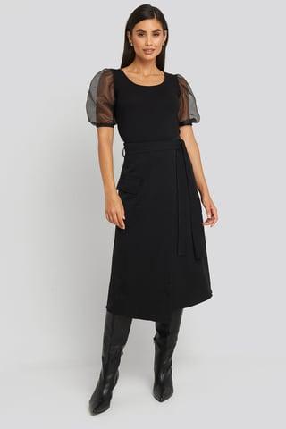 Black Waist Binding Overlap Midi Skirt