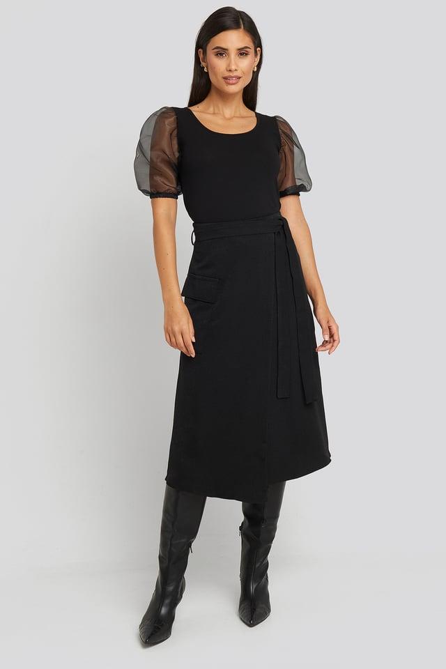Waist Binding Overlap Midi Skirt Black