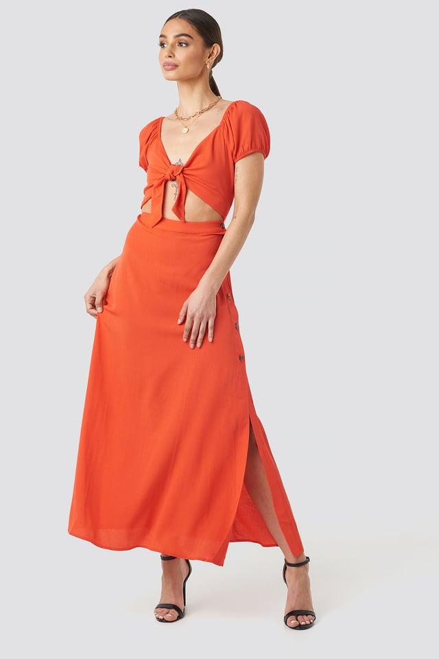 Waist Detailed Maxi Dress Red