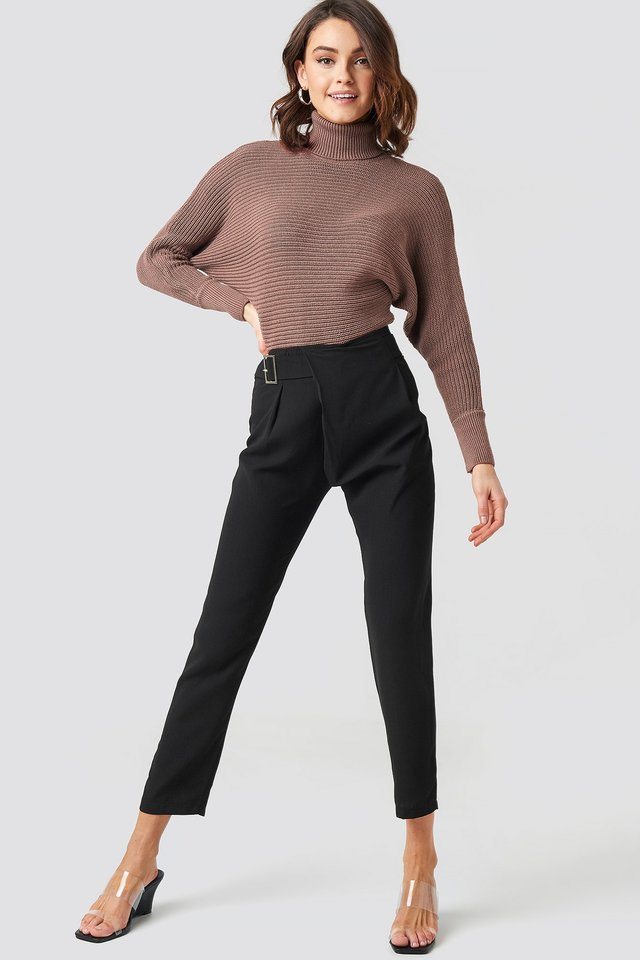 Waist Detailed Trousers Black