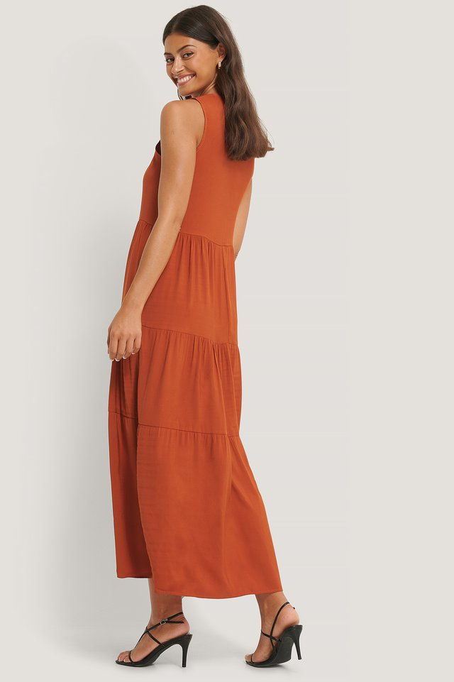 Wide Cut Long Dress Cinnamon