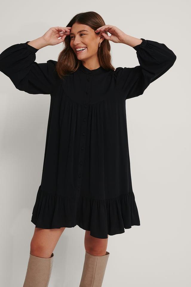 Wide Fit Shirt Dress Black