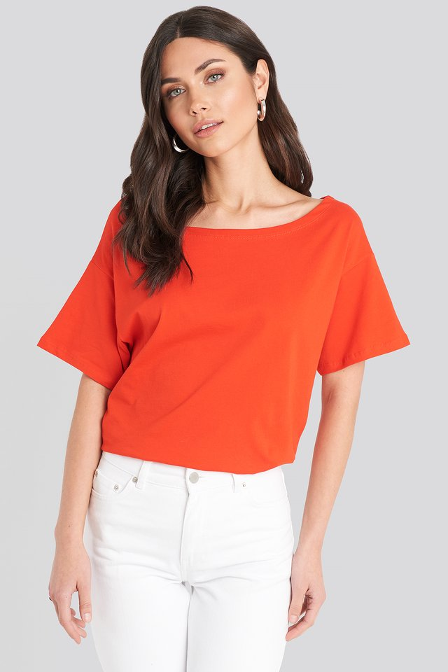 Coral Wide Neck Boyfriend Tee