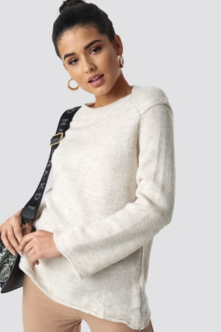 Beige Wide Sleeve Detail Sweater Pullover