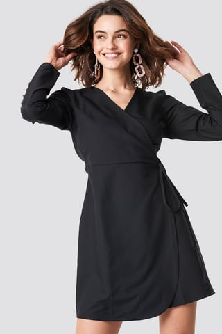 Black Wrap Around Mini Dress