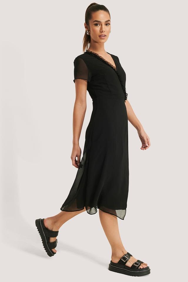 Wrap Fringe Detail Midi Dress Black