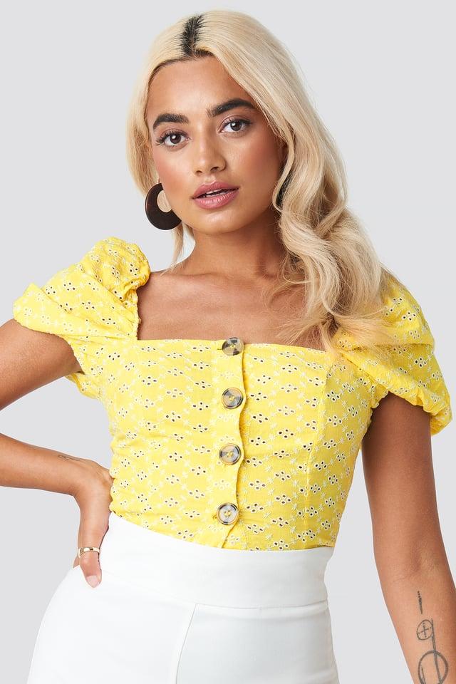 Yol Balloon Sleeve Blouse Yellow