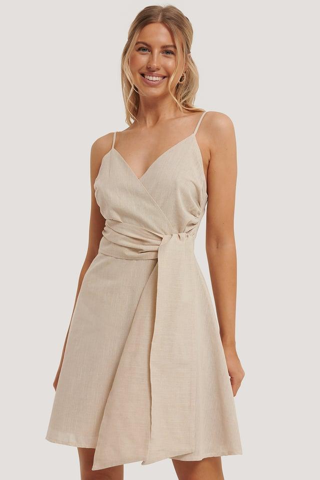 Yol Belt Detailed Mini Dress Stone