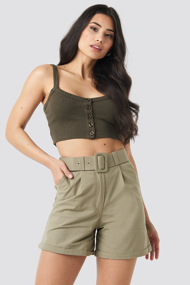 Yol Belt Detailed Shorts Khaki