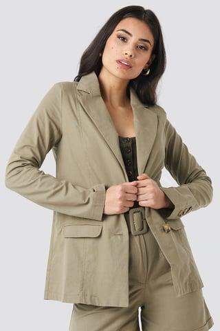 Khaki Yol Pocket Detailed Jacket