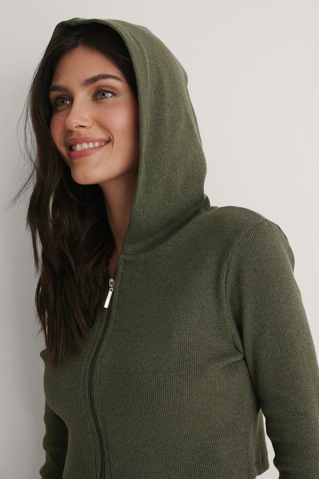 Khaki Zip Hood Sweater