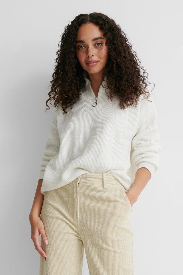 Ecru Zip Knit Sweater