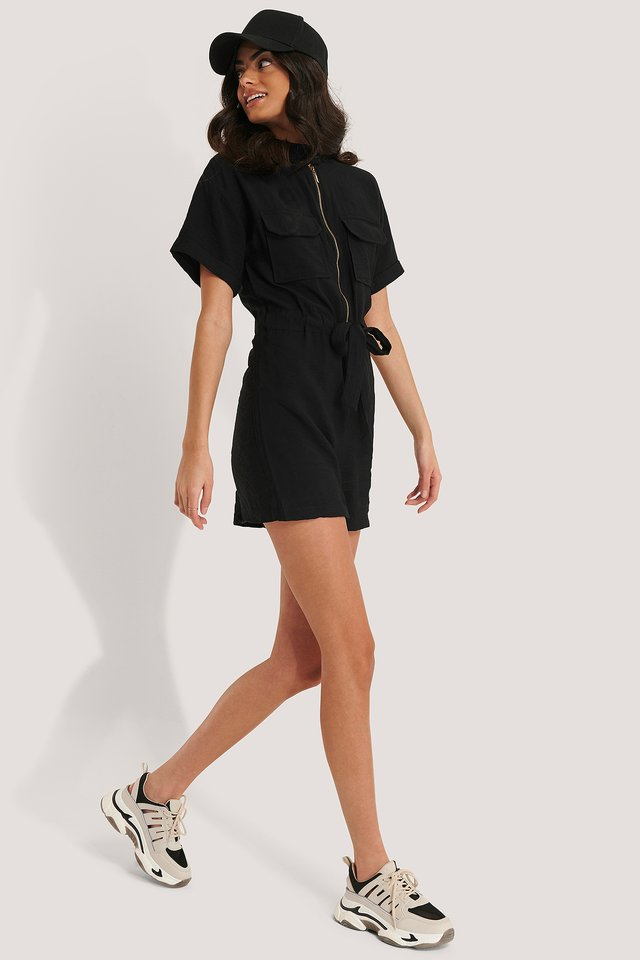 Zipper Detail Playsuit Black
