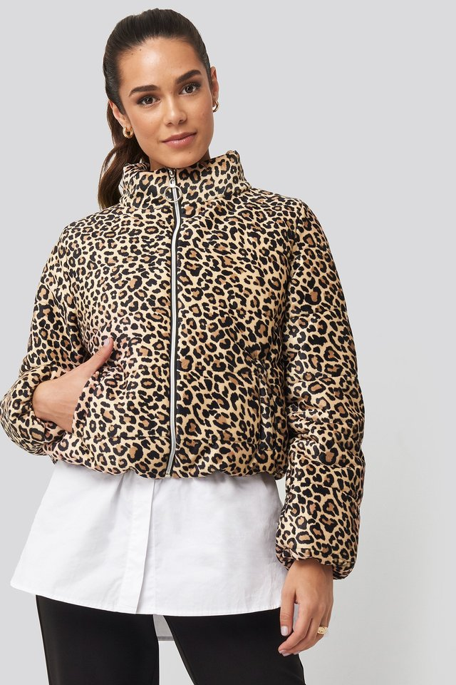 Zipper Leopard Pattern Velvet Crop Jacket Brown