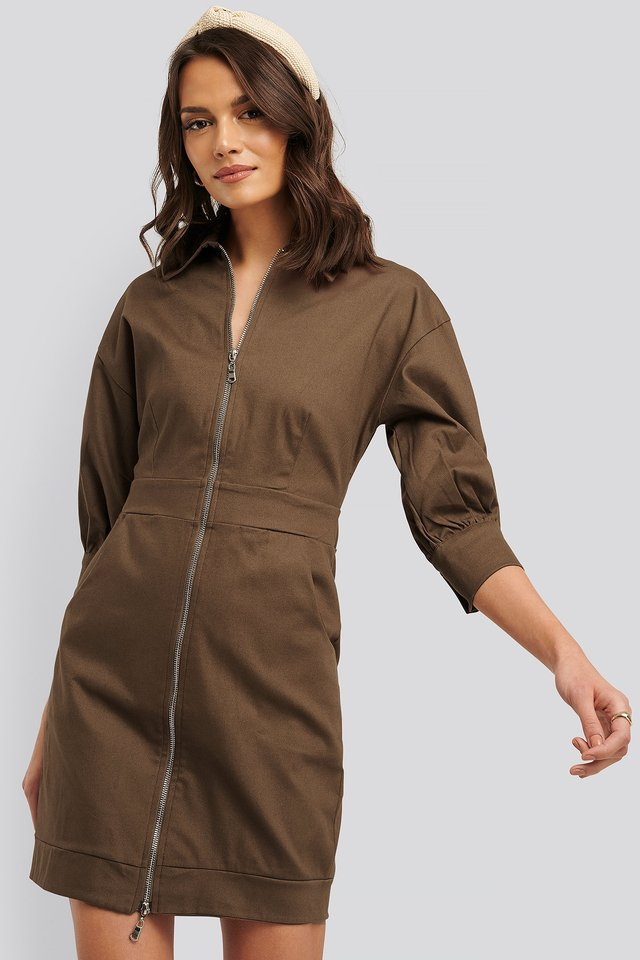 Zipper Mini Dress Brown
