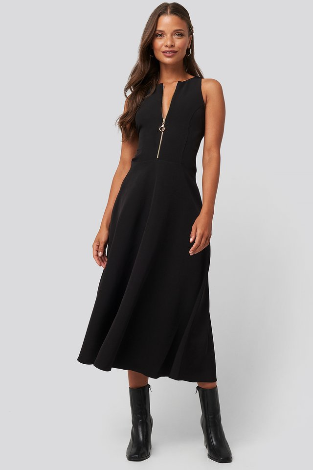 Zippered Midi Dress Black