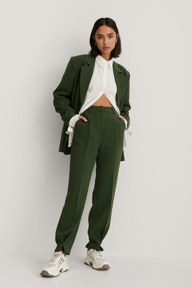 Dark Green Ankle Detail Suit Pants