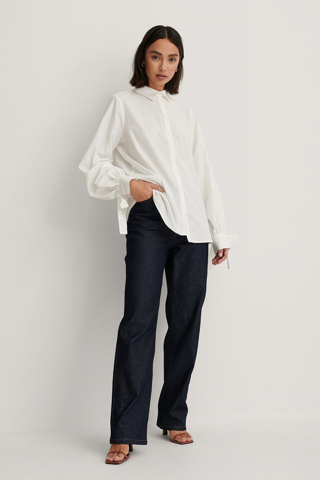 White Balloon Sleeve Strap Detail Shirt