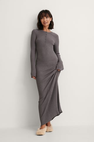 Grey Kjole Med Knapdetalje