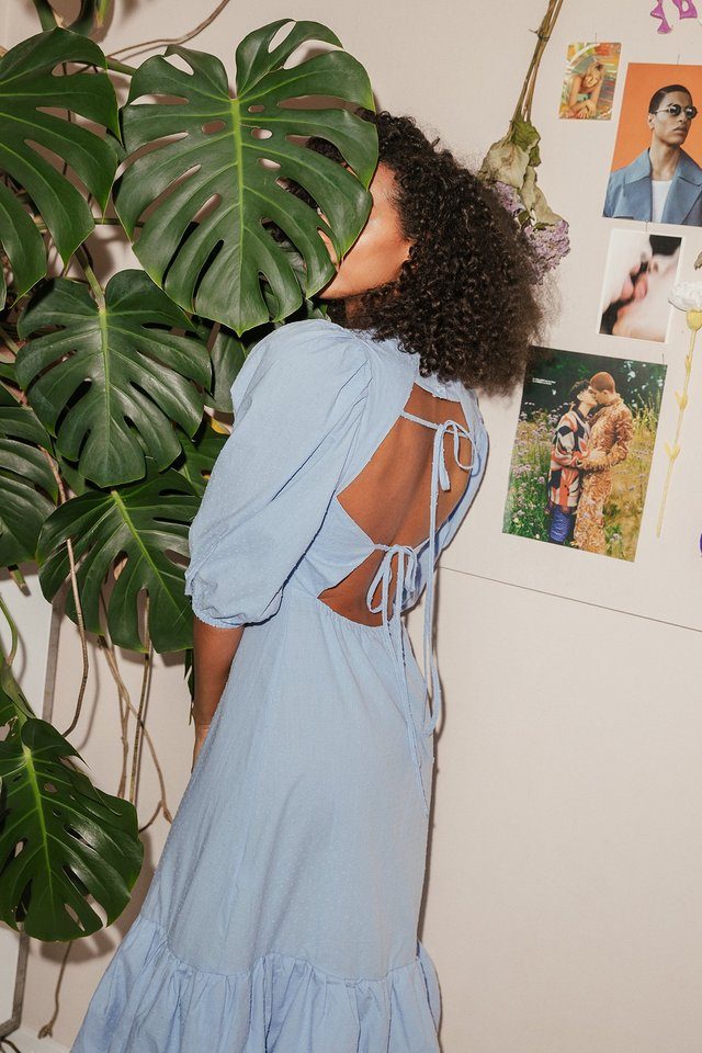 Blue Back Detail Volume Sleeve Dress