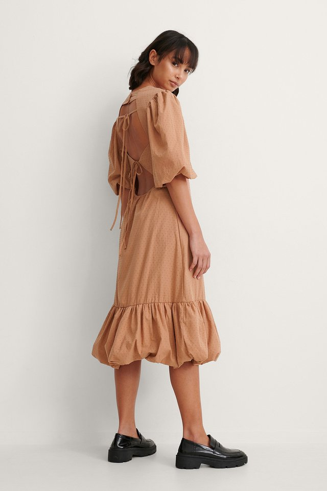 Brown Back Detail Volume Sleeve Dress