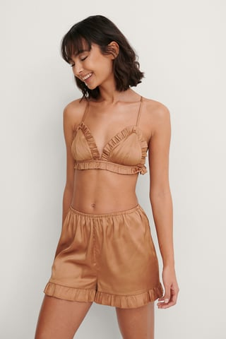 Brown Frill Detail Shorts